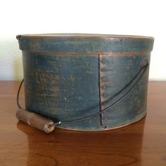 Large Antique Pantry Box, Bail Handle & Original Dark Blue Paint, AAFA Shaker #NaivePrimitive #handmade