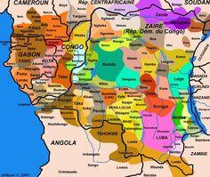 Congo, ethnic groups' areas