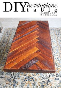 wow, I love this! I've been wanting a new piece of furniture for the family room and this DIY Herringbone Coffee Table tutorial with Hairpin Legs? MUST SEE!