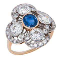 1stdibs.com | Edwardian Diamond and Sapphire Ring