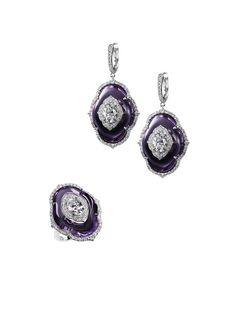 18k white gold, inlaid amethyst & diamond demi-parure // bogh-art