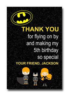Custom Batman Superhero Super Hero Birthday Party Invitation or Thank You  Card   - You Print on Etsy, $12.00
