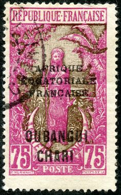 "Ubangi-Chari  1928 Scott 63 75c rose & dark brown ""Bakalois Woman"" Color Type of Middle Congo 1907-22 Overprinted in Black With Additional Overprint in Black"