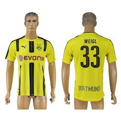 BVB Borussia Dortmund 16-17 Weigl 33 Hjemmebanetrøje Kortærmet.  http://www.fodboldsports.com/bvb-borussia-dortmund-16-17-weigl-33-hjemmebanetroje-kortermet.  #fodboldtrøjer