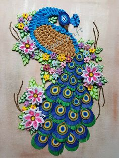 Peacock made from quilling paper Peacock Quilling, Peacock Crafts, Peacock Art, Quilling Paper Craft, Paper Crafts, Paper Quilling Tutorial, Paper Quilling Patterns, Quilled Paper Art, Paper Flower Tutorial