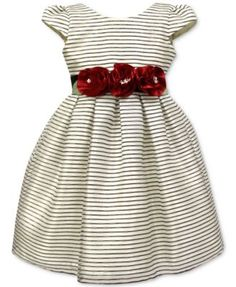 Jayne Copeland Rose-Detail Striped Special Occasion Dress, Toddler & Little Girls (2T-6X) | macys.com