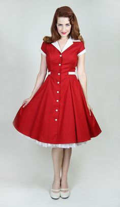 Diner Dress – Nothing quite says classic pinup like this dress.  Take a trip back to a different time; a time of milkshakes, soda pop fountains, Cadillac's, and swing dancing! The Diner dress is comfortable enough to wear all day, and striking enough to ensure you're the center of attention! Featuring contrasting collar, buttons, ties and sleeve cuffs.   $96.00