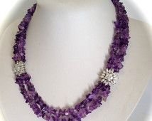 Amethyst Multi Strand Purple Stone Marquise Sunburst Station Necklace Demi Parure Tumbled Stone Necklace