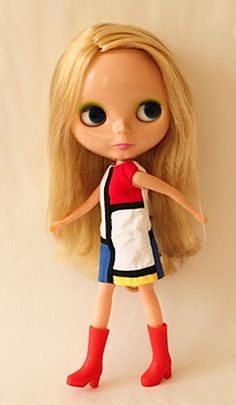BLYTHE doll (FAO exclusive) in YVES SAINT LAURENT'S iconic MONDRIAN-inspired dress. I bought my Blythe in New York. It has continued to go up steadily in value. (please follow minkshmink on pinterest) #mondriandress #yvessaintlaurent #sixtiesfashion #mod #blythedoll #blythe #bigeyes