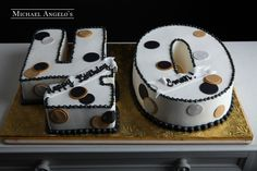 """Polka Dot 40 #82Milestones  Shaped as the number """"40"""", this cake is iced in buttercream then trimmed in black icing. The numbers are decorated with colored fondant circles."""