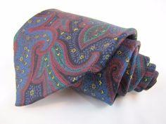 Robert Talbott Tie for Joseph Seafidi 100% silk Vintage Paisley Red Blue Green #RobertTalbott #Tie