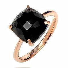375 Ct Sterling Silver Rose Gold Plated Checkerboard Square Black Onyx Ring Available in size 5 6 7 8 9 -- You can find more details by visiting the image link.(This is an Amazon affiliate link and I receive a commission for the sales)