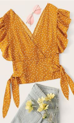 To find out about the Polka Dot Flounce Trim Shirred Blouse at SHEIN, part of our latest Blouses ready to shop online today! Romwe, Blouse Designs, Blouses For Women, Women's Blouses, Sleeve Styles, Fashion News, Fashion Dresses, Crop Tops, Women's Tops
