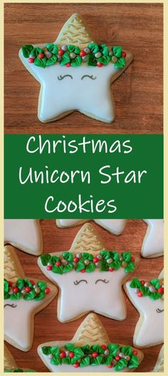 Let's learn how to make Christmas unicorn stars in this easy tutorial! Perfect for a party with unicorn lovers young and old!  #butfirstcookies #christmas #christmascookies #christmasunicorn #unicorn #unicornstar