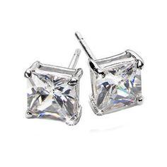 2.6ct Princess Cut 6mm Russian CZ Basket Set Stud Earrings - Trustmark Jewelers