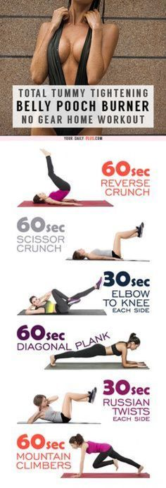 Total Tummy Tightener – Stubborn Pooch Fat Melter That Really Works! This killer tummy-cinching routine works magic on muffin tops and that soft belly pooch and will leave your tummy tight and toned in two weeks! Fitness Workouts, Easy Workouts, At Home Workouts, Fitness Tips, Fitness Classes, Yoga Workouts, Fitness Wear, Workout Gear, Arm Pit Fat Workout