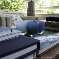 coffee table books and glassybaby