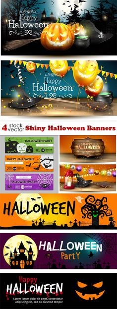 Vectors - Shiny Halloween Banners Halloween Banner, Happy Halloween, Halloween Party, Banner Design, Flyer Design, Photoshop Actions, Banners, Layouts, Vectors