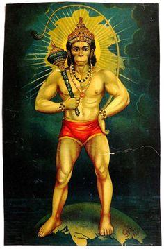 Indian monkey deity Hanuman, renowned for his courage, power & faithful selfless service century image) Hanuman Tattoo, Hanuman Chalisa, Krishna, Raja Ravi Varma, Lord Hanuman Wallpapers, Indian Art Gallery, Hanuman Images, Indian Art Paintings, Durga Goddess