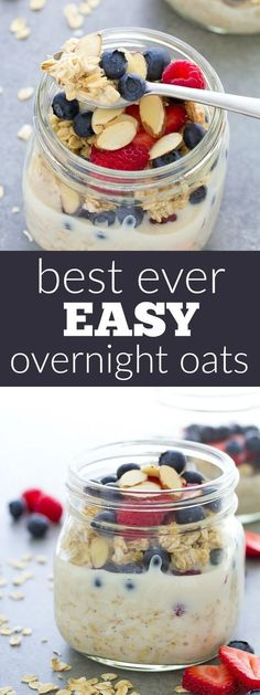 Our favorite easy overnight oats recipe made with just 4 ingredients and a touch of vanilla. We love this healthy oatmeal topped with fresh berries and almonds!