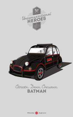 """""""Unconventional Heroes"""" by Gerald Bear. Movie cars reimagined as other movie car heroes. Especially the Fiat """"Cinquecento"""" instead of the Delorean is our Tesla Roadster, Film Cars, Movie Cars, Arte Pink Floyd, Vw Mk1, 2cv6, Car Illustration, Car Posters, Car Drawings"""