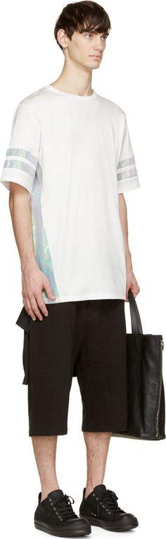 D.Gnak by Kang.D White Iridescent Panelling T-Shirt