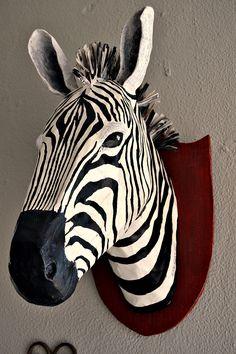 papier mache zebra head