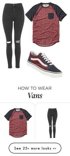 """basic tee w. vans"" by rileygonzalesbaby on Polyvore featuring moda, Hollister Co., Topshop y Vans"