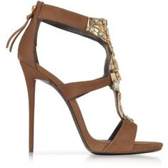 Giuseppe Zanotti Katun Jeweled Nabuk Leather Sandal