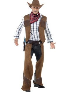 Simple but effective costume which will instantly transform you into a cowboy from the wild west. This Fringe Cowboy Mens Costume consists of a fringed vest and chaps in faux suede look fabric with a matching hat. Cowboy Costume For Men, Costumes Western, Adult Costumes, Costumes For Women, Cartoon Costumes, Zombie Costumes, Fun Costumes, Pirate Costumes, Halloween Costumes