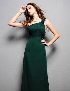 Emerald Green Bridesmaid Dress One Shoulder