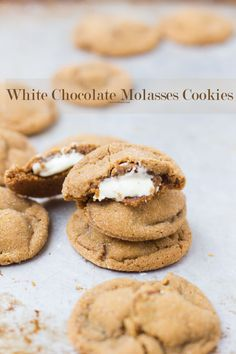 Molasses cookies stuffed with creamy white chocolate and rolled in sugar. The ultimate cookie of the holidays. Cookie Desserts, Just Desserts, Cookie Recipes, Delicious Desserts, Dessert Recipes, Yummy Food, Candy Recipes, Cupcake Recipes, Fun Food