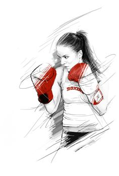 Illustrations-By-Tomasz-Usyk sports art kickboxing, boxing girl e mma boxin Boxing Girl, Mma Boxing, Illustration Art Drawing, Art Drawings, Taekwondo, Boxe Fight, Sport Photography, Sports Art, Martial Arts