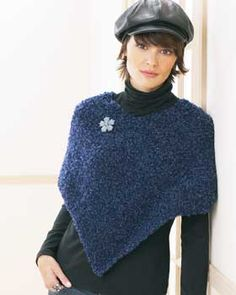 If you can knit a scarf you can knit a poncho! This easy poncho pattern is great for beginners. Shown in Bernat Soft Boucle.
