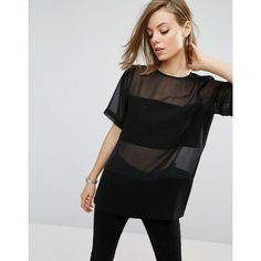 ASOS Woven T-Shirt in Sheer & Solid (€36) ❤ liked on Polyvore featuring tops, t-shirts, black, relaxed tee, crew-neck tee, see through tee, braided t shirt and bandeau tops