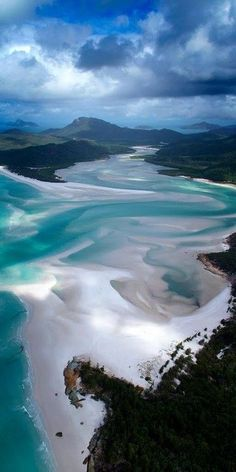 The spectacular swirling sands of Hill Inlet on the northern end of Whitehaven Beach on Whitsunday Island, Queensland - Australia Places Around The World, Oh The Places You'll Go, Places To Travel, Places To Visit, Dream Vacations, Vacation Spots, Beautiful World, Beautiful Places, Amazing Places