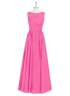 Picture in Pink!  AZAZIE ALIYA. You'll practically float down the aisle in this floor-length stunner, as its fitted pleated waist and sheer lace neckline flatters your figure.