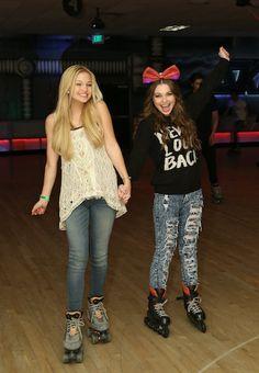 Olivia Holt & Sammi Hanratty skate at Peyton List's Sweet 16