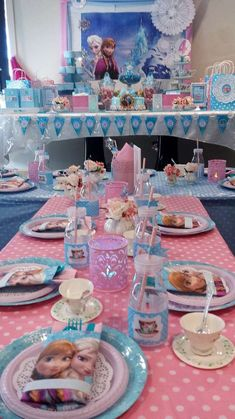 Pink and blue table at a Frozen birthday party! See more party ideas at CatchMyParty.com!
