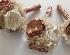 Rose Gold, Gold and Cream - Small Sized Bouquet - Fabric Flower Bouquet, Fabric Bouquet, Gold Wedding, Rose Gold Wedding, Bridesmaids