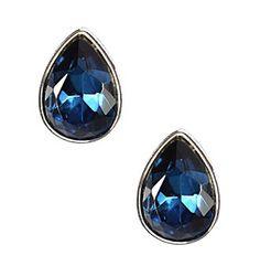 Product: Napier® Blue And Silvertone Teardrop Button Stud Earrings