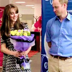 The Duchess of Cambridge receiving a bouquet of flowers after attending an event with the Duke of Cambridge to mark World Mental Health Day hosted by the charity Mind (10/10/15)
