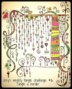 Zenspirations dangle design - by joey. Tangle Doodle, Tangle Art, Zen Doodle, Doodle Art, Zentangle Drawings, Doodles Zentangles, Doodle Drawings, Doodle Designs, Doodle Patterns
