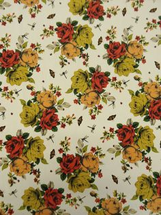 New Arrival Item BGD2478 Off-White/Red/Mustard Vintage Roses Print Poly Peachskin Blouseweight 58W