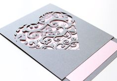 korttiin: Laser cut Heart Invitation Elegant detailed by TheMemoryTrunk