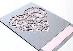 korttiin: Laser cut Heart Invitation Elegant detailed by TheMemoryTrunk