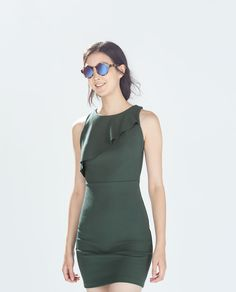 Image 2 of DRESS WITH ASYMMETRIC RUFFLE NECK from Zara