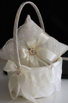 Lace Wedding Pillow Ivory Wedding Basket Ivory by AlexEmotions