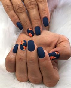 Nail art is a very popular trend these days and every woman you meet seems to have beautiful nails. It used to be that women would just go get a manicure or pedicure to get their nails trimmed and shaped with just a few coats of plain nail polish. Fall Nail Art Designs, Cute Nail Designs, Short Nail Designs, Nails Design Autumn, Navy Blue Nail Designs, Flower Nail Designs, Acrylic Nail Designs, Hair And Nails, My Nails