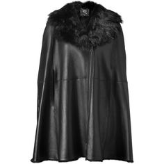 MCQ ALEXANDER MCQUEEN Black Leather Cape ($2,015) ❤ liked on Polyvore featuring outerwear, cape, coats, jackets, alexander mcqueen, leather cape coat, leather trench coats, leather trenchcoat, leather cape and long trench coats